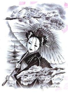 ladyhydrangea21 geisha drawinggeisha