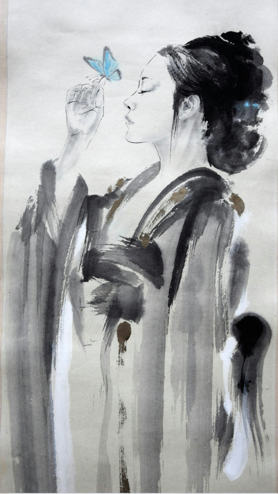 beautyful girl little geisha geisha painting butterfly japanese woman original artwork sumi e