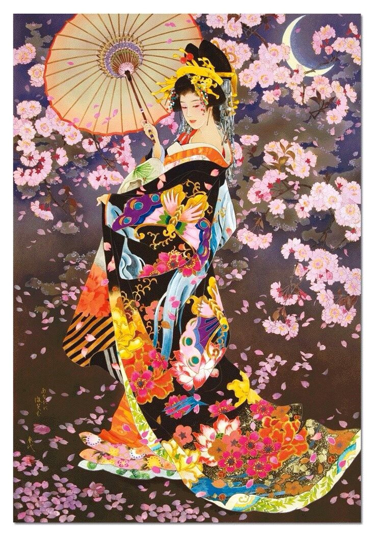 geisha girl holding umbrella cherry blossoms color art