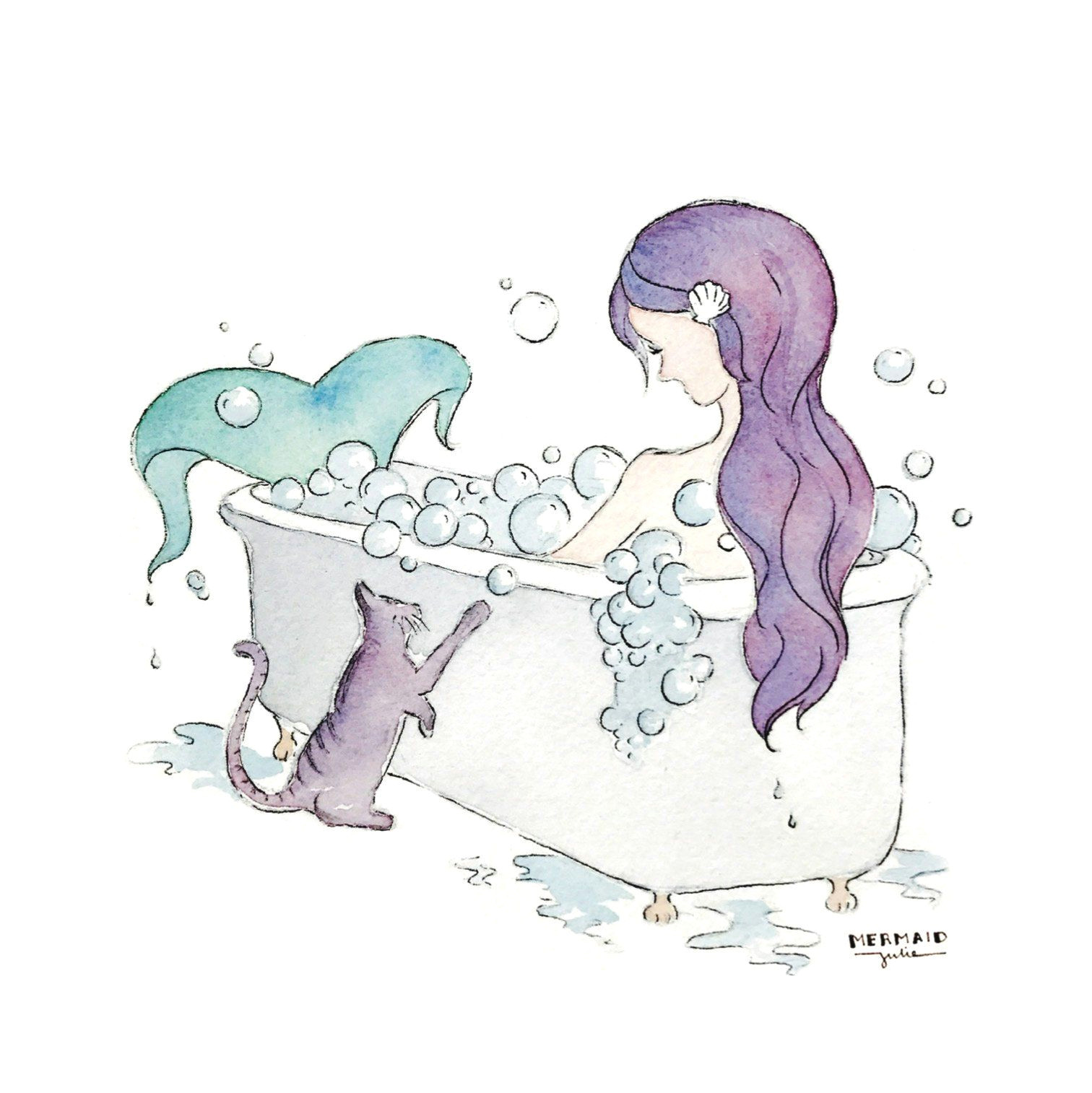 Drawing Of A Girl Bathing Mermaid Bubble Bath Art Prints Set Of 4 5×5 House Mermaid Art