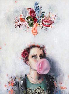 bubblegum kisses blowing bubbles bubble gum tumblr posts oil on canvas