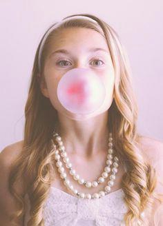 girl blowing bubble bubble gum girl portrait trinity katy tx family photographer