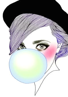 drawing of a girl wearing a hat blowing a bubble with green blue bubble gum art
