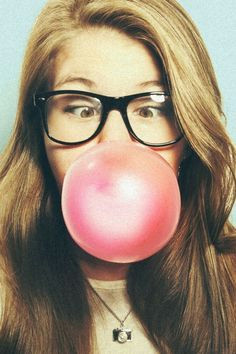 uh oh hope that bubblegum doesnt get attached to her blowing bubble gum pop