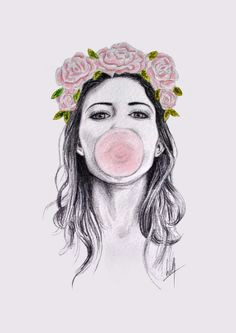 a3 signed art print bubblegum by designsbylibbyw on etsy a 30 00 beautiful drawings cool