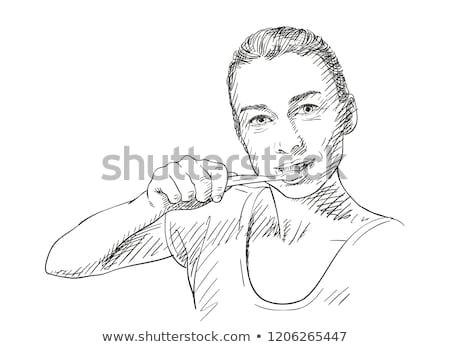 Drawing Of A Girl Brushing Teeth Yooung Woman Brushing Her Teeth Vector Sketch Hand Drawn