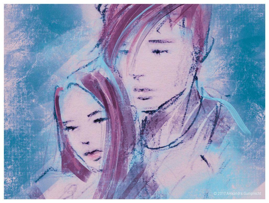 boy and girl illustration by alexandra gumprecht www stilleswasser deviantart com cute couple sketch love expressive colourful art drawing