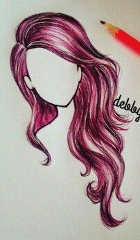 pelo rosa rojo lapiz color