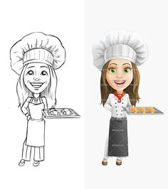 woman chef cartoon chard cter