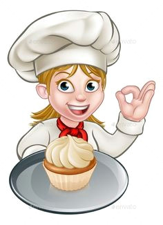 woman chef or baker cartoon by krisdog a woman chef or baker cartoon character holding a plate with a cupcake or fairy cake on it