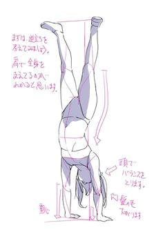 handstand pose female pose gymnastics acrobatics anatomy drawing body drawing manga