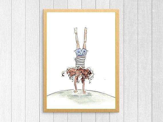super sweet art for a girl s room handstand girl by stephanie rose art https