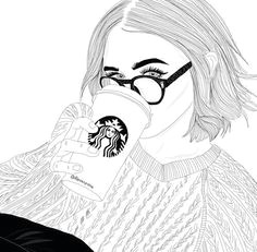 girl starbucks and outline image girl drawings tumblr girl drawing tumblr art