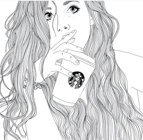 art black white drawing girl outlines starbucks image