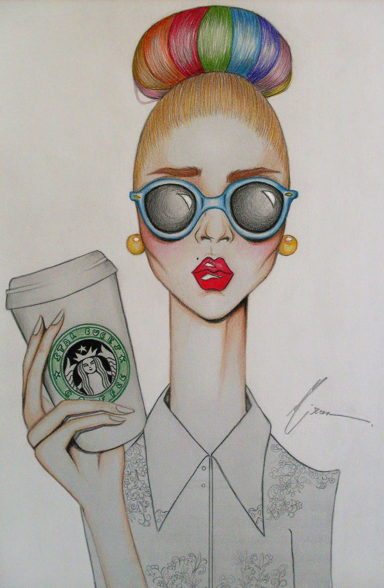 haha this is cute art girl coffee starbucks drawing coffee coffee art coffee drawings