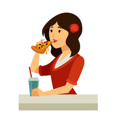 italian woman with rose in hair eats pizza vector