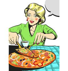 woman eating pizza comic vector