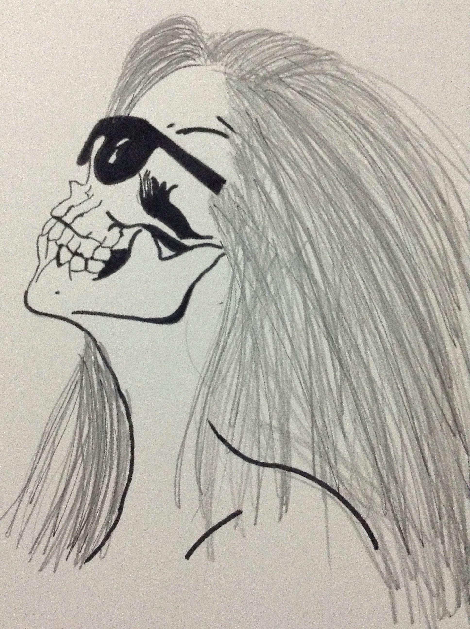 my skull girl drawing