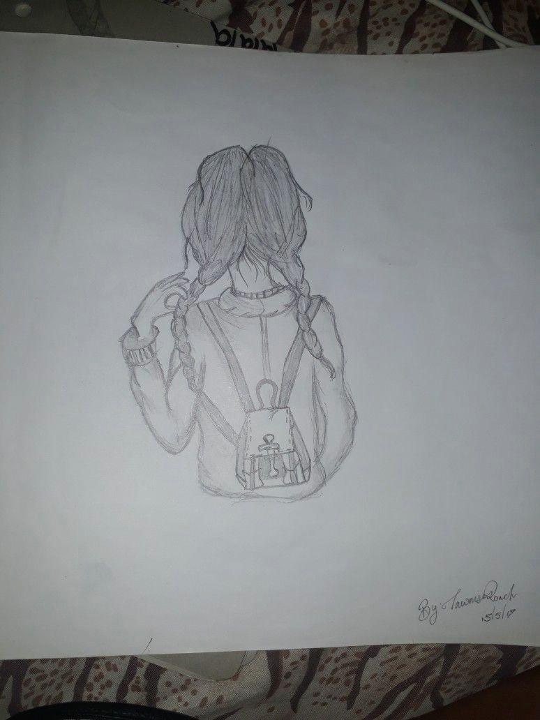 school girl drawing
