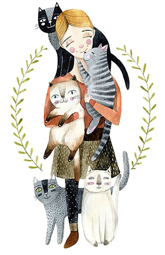 girls with cats by vicky od