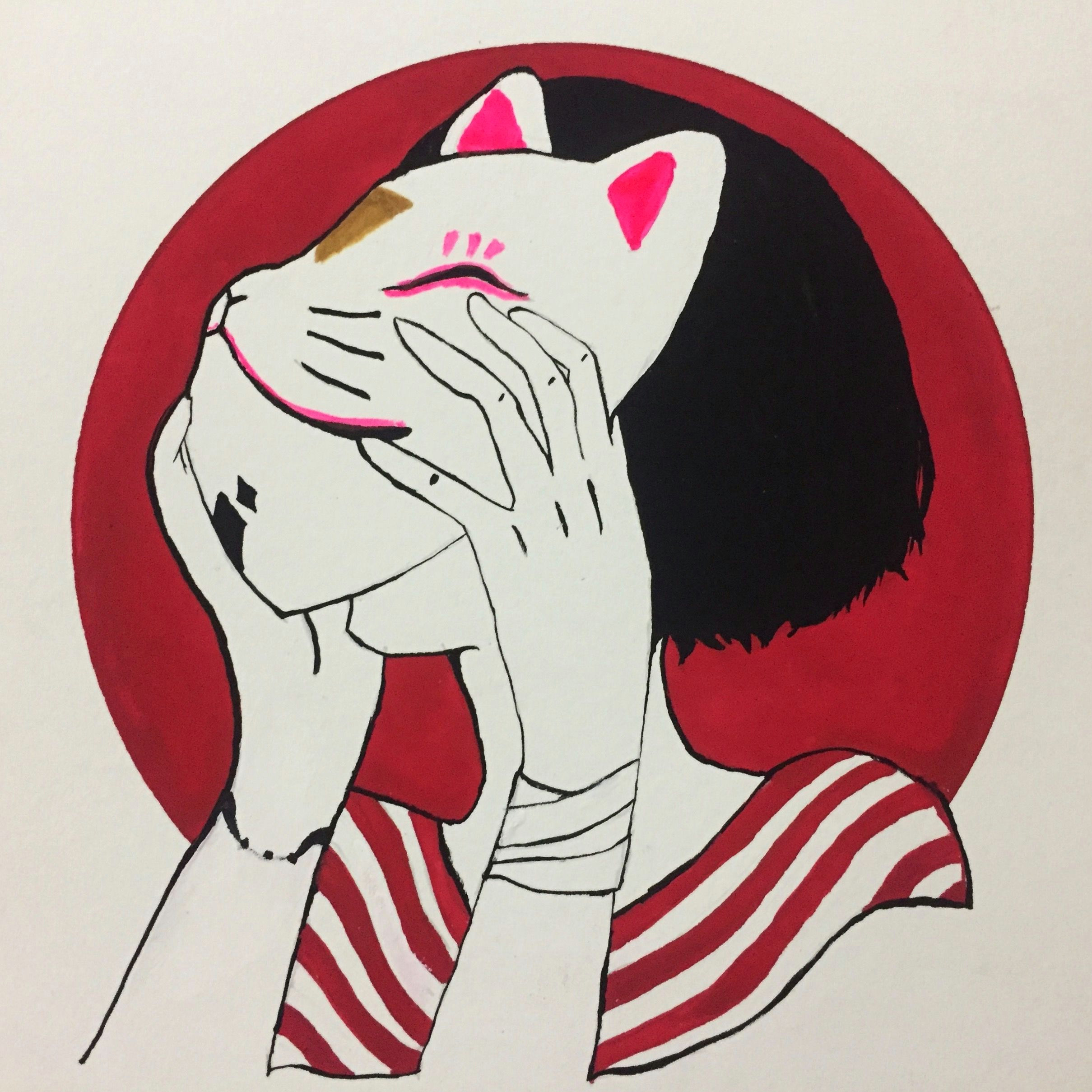 Drawing Of A Girl Holding A Cat Cat Mask Girl Drawing In 2019 Drawings Art Art Drawings