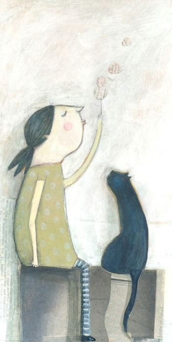 leonor perez sweet illustration of a girl with her cat