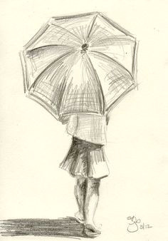 girl with umbrella 4x6 pencil study on etsy 20 00 simple pencil drawings