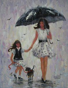 mother daughter art print rain girls print mother daughter paintings umbrellas little girl black and white wall art vickie wade art