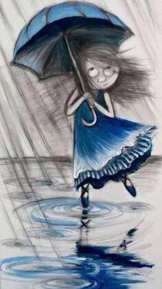 umbrellas by quenalbertini blue dress girl by o