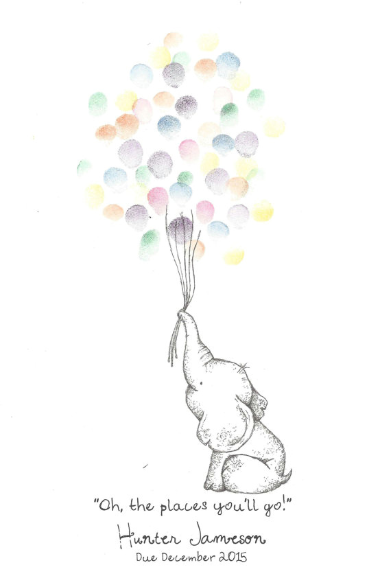 baby elephant holding a bundle of balloons fingerprint guest book shower birthday party art pen ink custom printable design