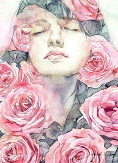 woman flowers art japanese painting female art flower art woman art
