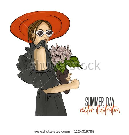 girl holding flower vector illustration romantic mood fashion glamour drawing young woman in sunglasses off shoulder dress with bouquet