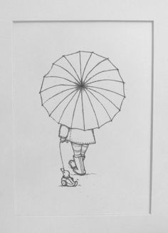 pencil illustration little girl holding an umbrella taking her toy duck for a walk nursery art room decor children s print wall art