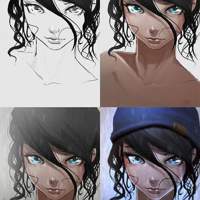 steps process portrait animegirl anime manga rain cute hoodie eyes steps drawing girl