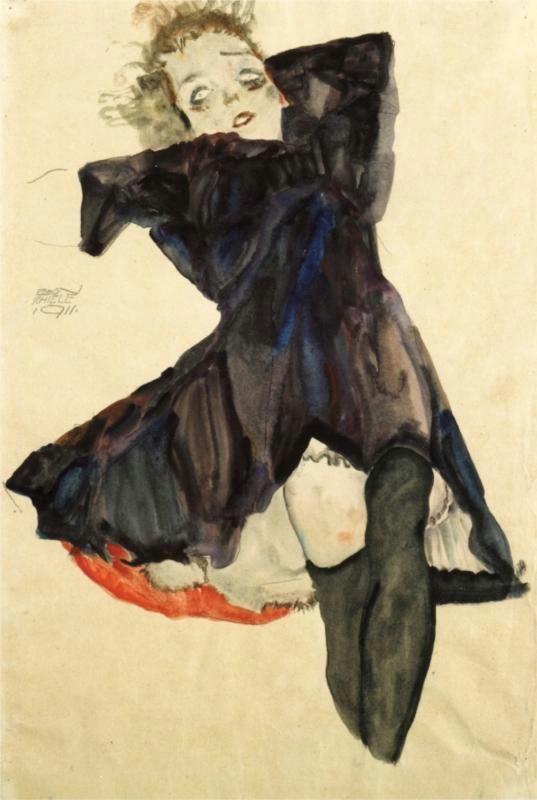 girl in blue dress 1911 egon schiele