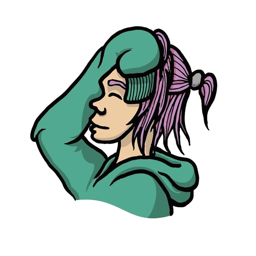 girl hoodie pink hair smile drawing art doodle colour characterdesign