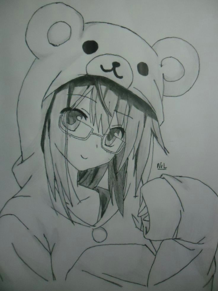 Drawing Of A Girl In A Onesie This Picture Shows An Anime Girl In A Teddy Bear Onesie C Drawing