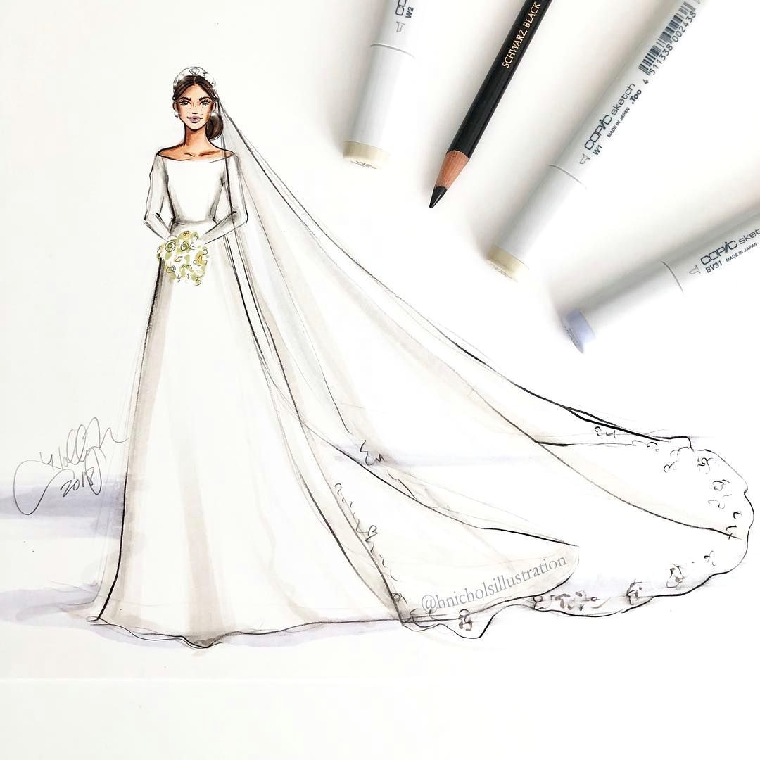 and the bride wore givenchyofficial meghanmarkle in her gown designed by clare waight keller for givenchy sketched with copicmarker