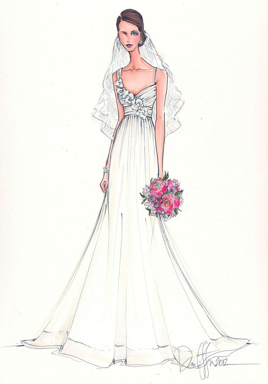 custom bridal illustration 165 00 via etsy