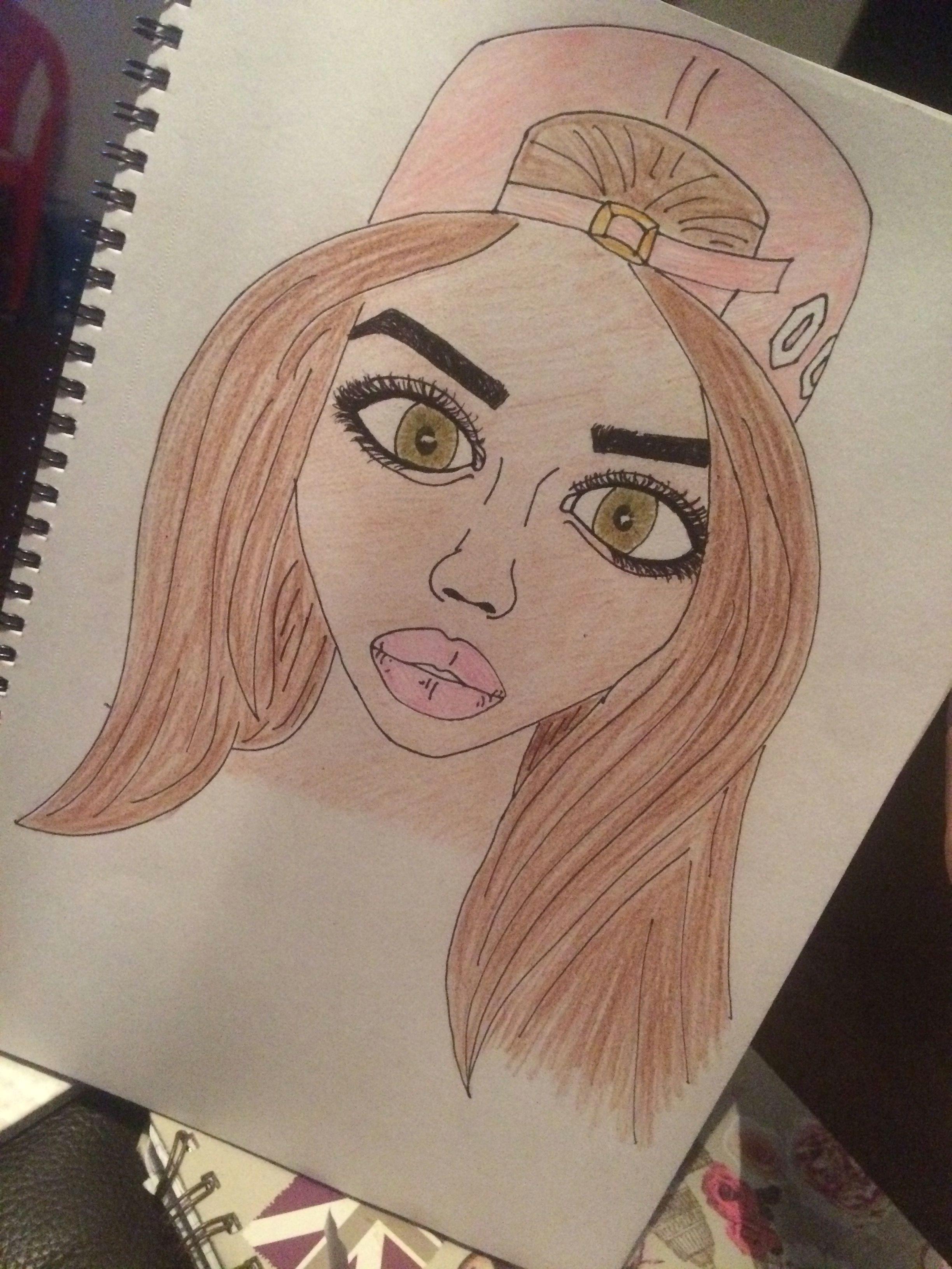 Drawing Of A Girl In Colour Drawing Girl Cartoon Roomforimprovement Eyestoodark Pencil