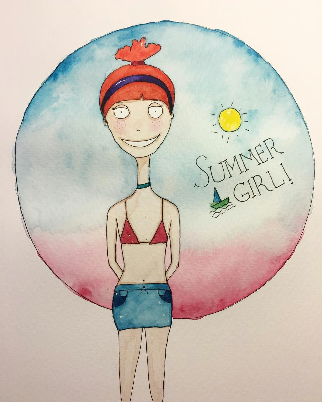 my summer girl angie characterdesign watercolor painting illustration sketch artwork