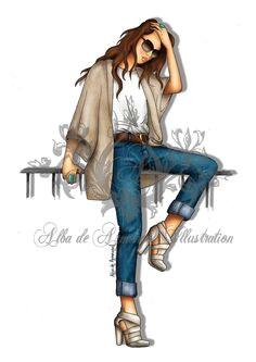 alba girl cartoon croquis fashion sketches figurative art art girl love fashion fashion art blue jeans
