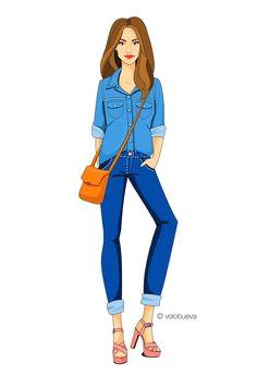 fashion illustration total denim look