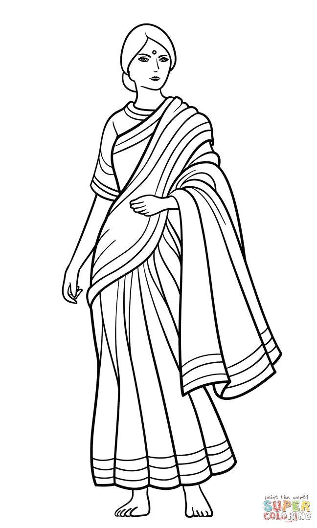 saree indian girl coloring page