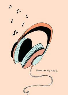listen to my music headphone art print 5x7 girl with headphones music headphones