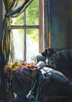 animal paintings and pet portraits by louisiana artist karen mathison schmidt impressionist and colorist animal art candy rigsby a looking out the window