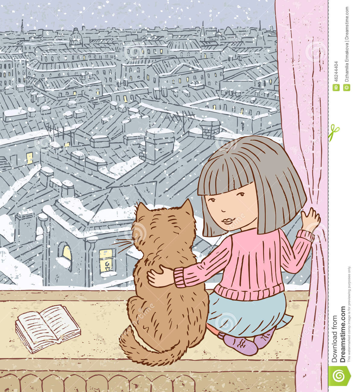 vector drawing of a little girl with a cat looking out the window in a winter city