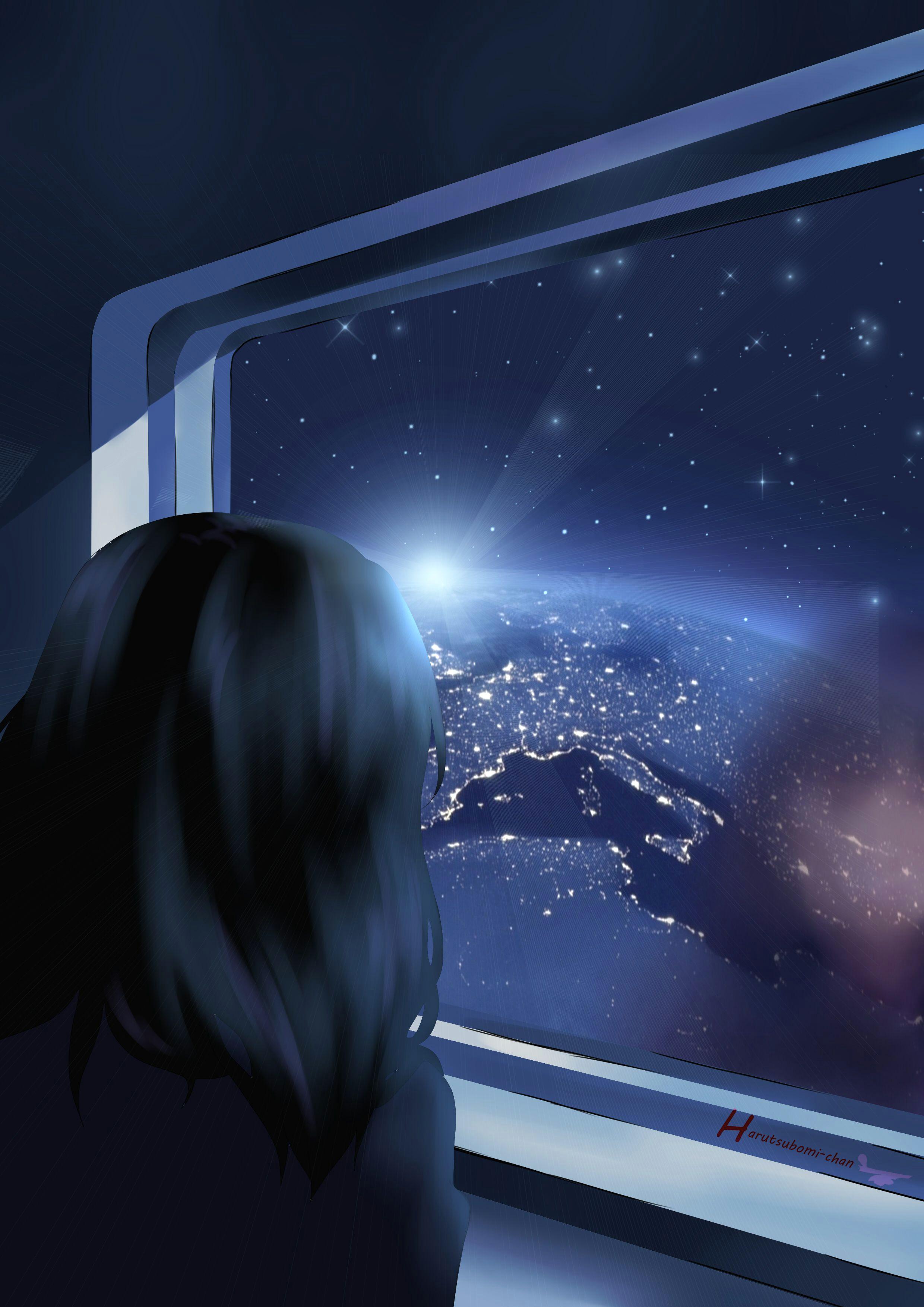 space window girl drawing painting anime manga planet