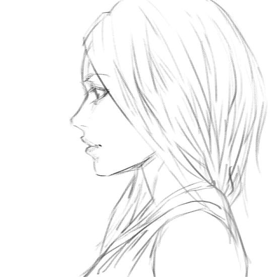 girl side view sketch