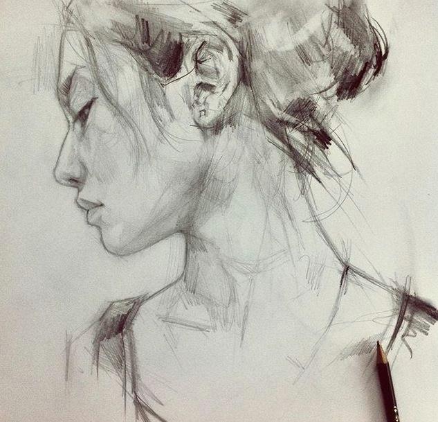 Drawing Of A Girl Looking Sideways Girl Sideways Drawings Sketches Paintings Ilustraciones Arte